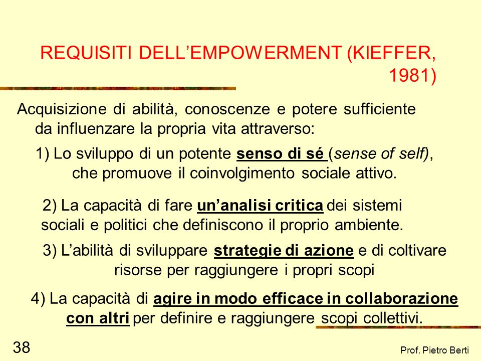REQUISITI DELL'EMPOWERMENT (KIEFFER, 1981)
