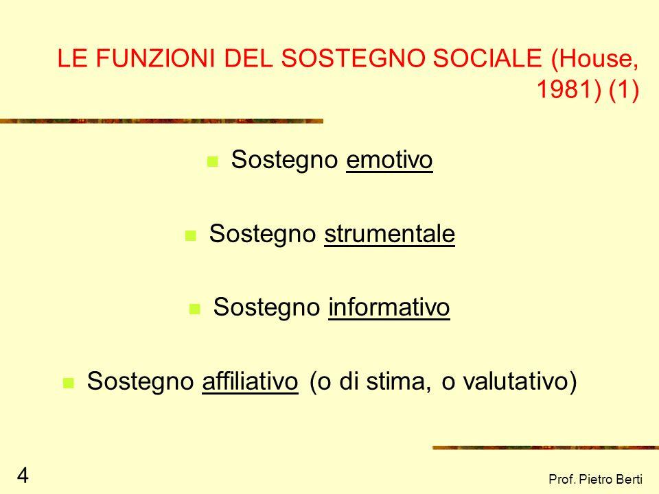 LE FUNZIONI DEL SOSTEGNO SOCIALE (House, 1981) (1)