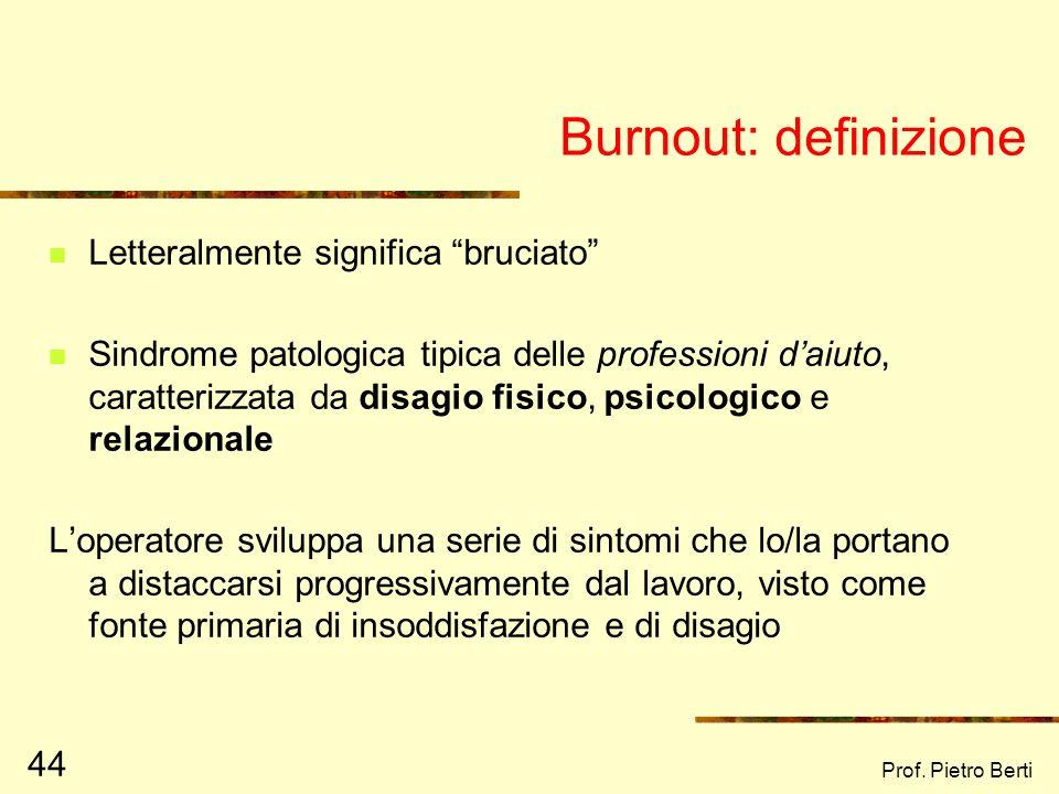 Burnout: definizione Letteralmente significa bruciato