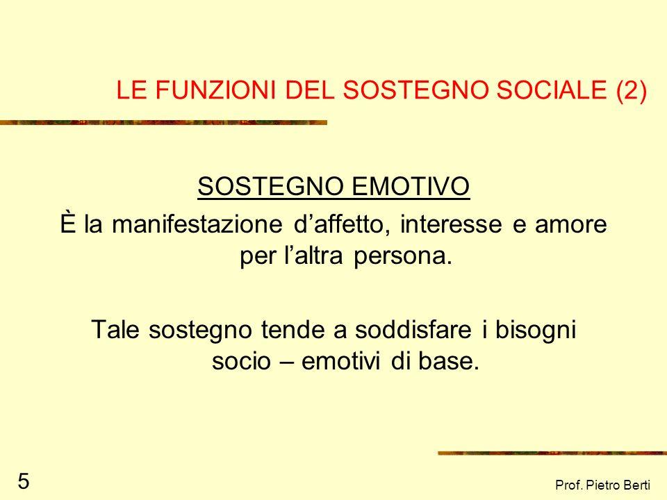 LE FUNZIONI DEL SOSTEGNO SOCIALE (2)