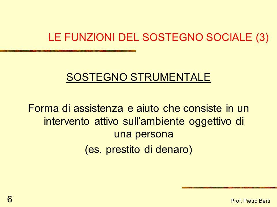 LE FUNZIONI DEL SOSTEGNO SOCIALE (3)