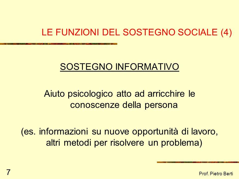 LE FUNZIONI DEL SOSTEGNO SOCIALE (4)