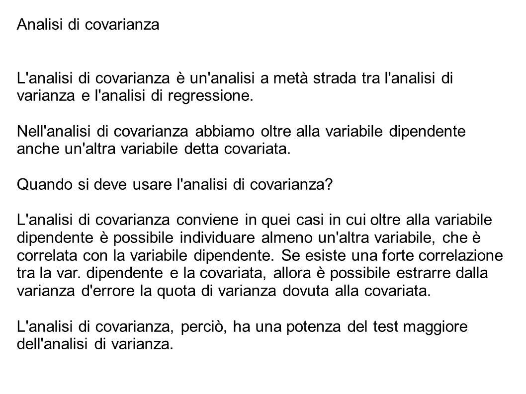 Analisi di covarianza L analisi di covarianza è un analisi a metà strada tra l analisi di varianza e l analisi di regressione.