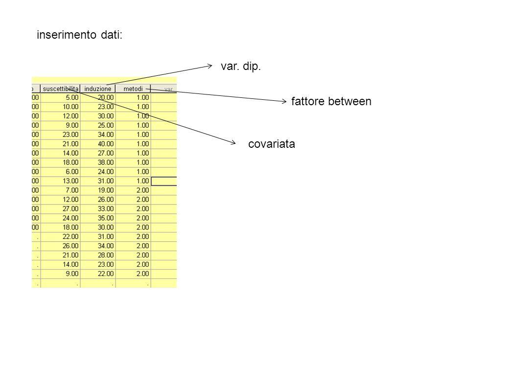inserimento dati: var. dip. fattore between covariata