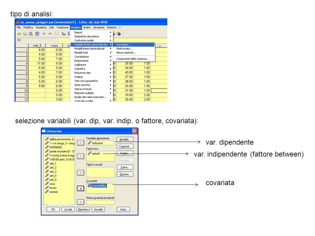 tipo di analisi:selezione variabili (var. dip, var. indip. o fattore, covariata): var. dipendente. var. indipendente (fattore between)