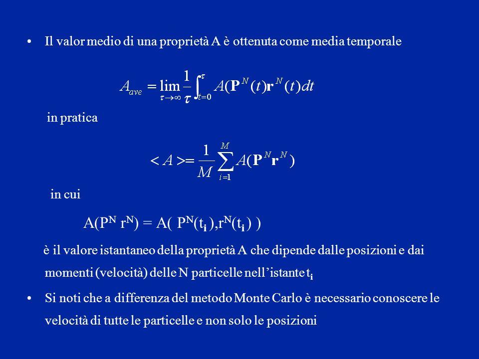 Il valor medio di una proprietà A è ottenuta come media temporale