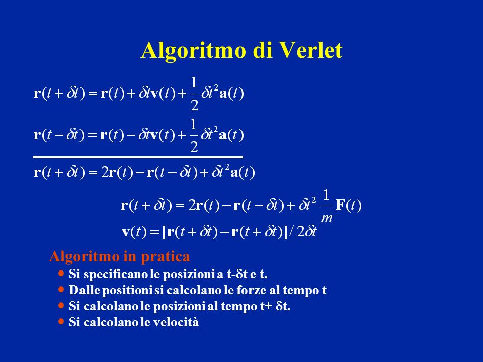 Algoritmo di Verlet Algoritmo in pratica