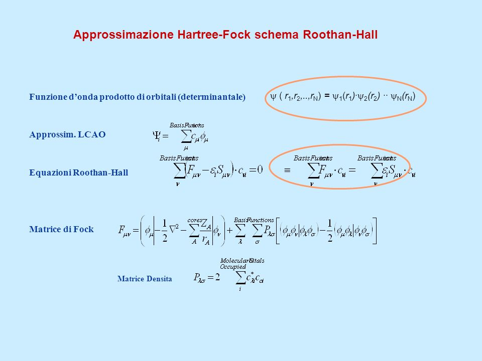 Approssimazione Hartree-Fock schema Roothan-Hall