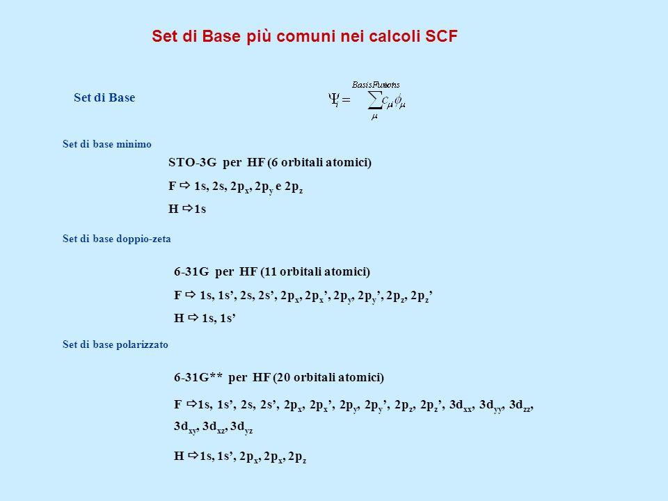 Set di Base più comuni nei calcoli SCF