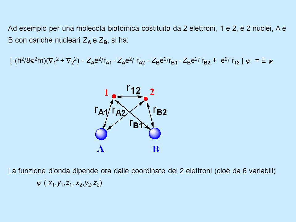 Ad esempio per una molecola biatomica costituita da 2 elettroni, 1 e 2, e 2 nuclei, A e B con cariche nucleari ZA e ZB, si ha: