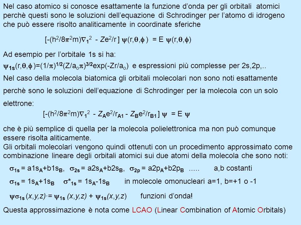 Nel caso atomico si conosce esattamente la funzione d'onda per gli orbitali atomici perchè questi sono le soluzioni dell'equazione di Schrodinger per l'atomo di idrogeno che può essere risolto analiticamente in coordinate sferiche