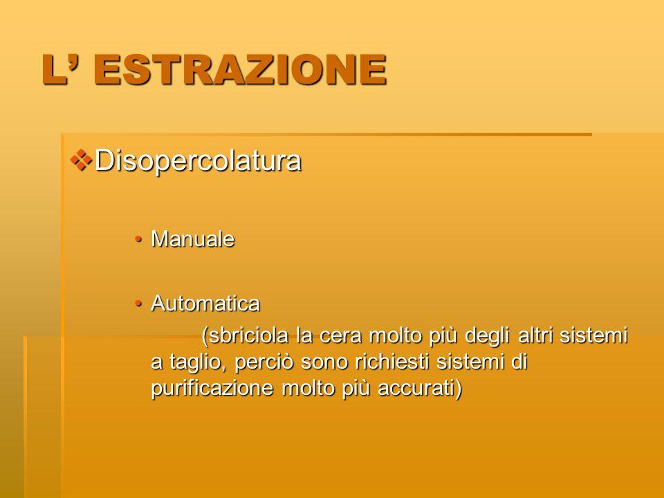 L' ESTRAZIONE Disopercolatura Manuale Automatica