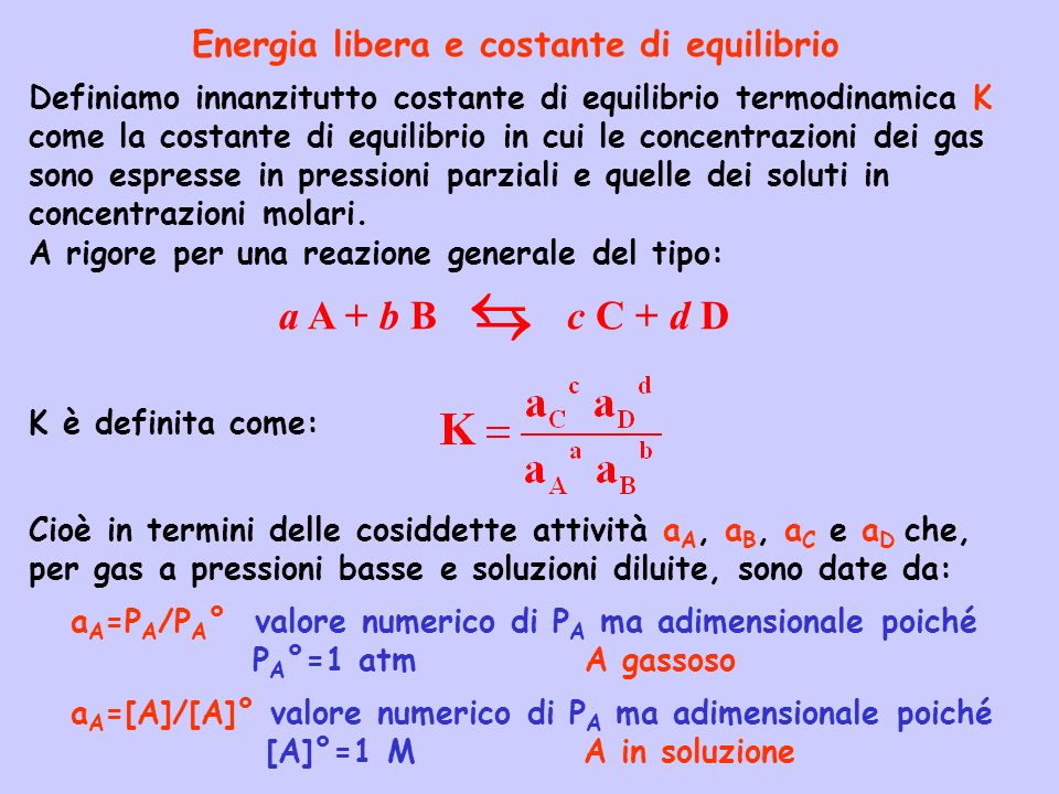   a A + b B c C + d D Energia libera e costante di equilibrio