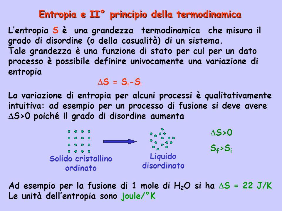 Entropia e II° principio della termodinamica