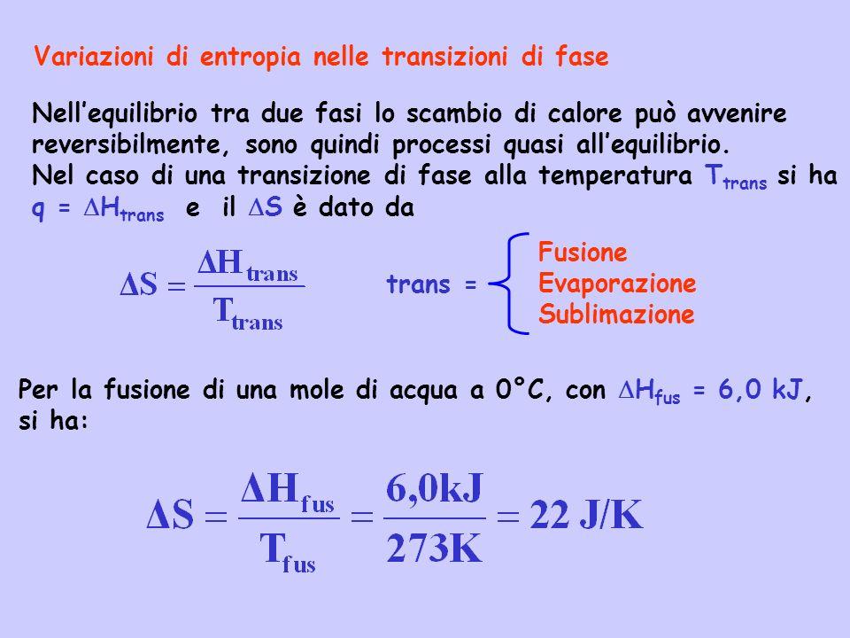 Variazioni di entropia nelle transizioni di fase