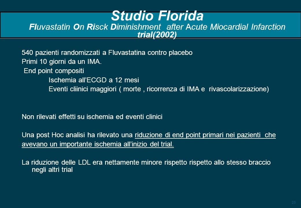 Studio Florida Fluvastatin On Risck Diminishment after Acute Miocardial Infarction trial(2002)