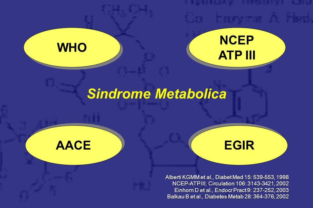 Trattamento Sindrome Metabolica WHO NCEP ATP III AACE EGIR Resine
