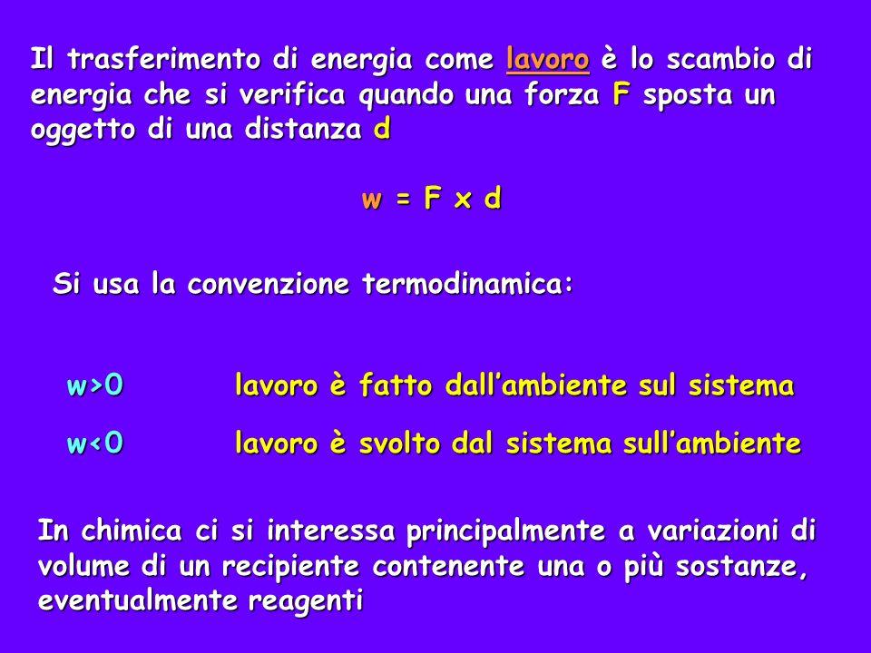 Il trasferimento di energia come lavoro è lo scambio di energia che si verifica quando una forza F sposta un oggetto di una distanza d