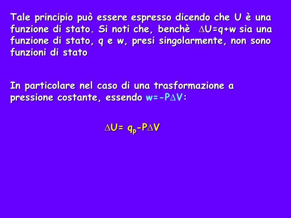 Tale principio può essere espresso dicendo che U è una funzione di stato. Si noti che, benchè ∆U=q+w sia una funzione di stato, q e w, presi singolarmente, non sono funzioni di stato