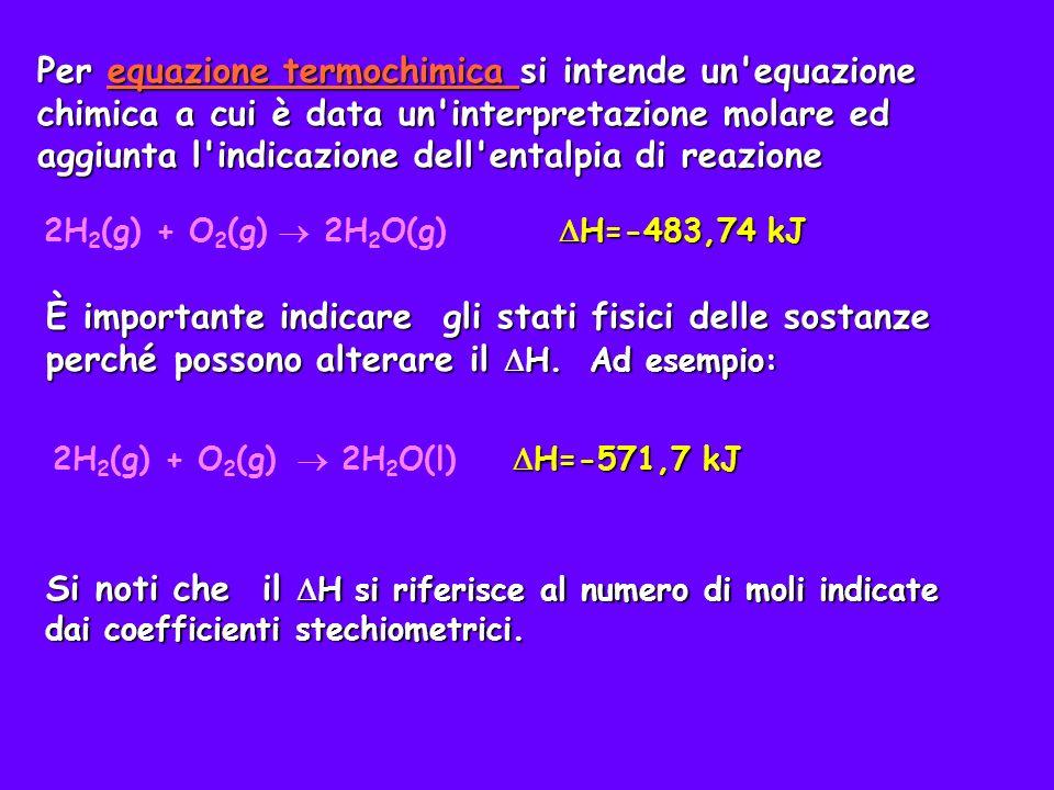Per equazione termochimica si intende un equazione chimica a cui è data un interpretazione molare ed aggiunta l indicazione dell entalpia di reazione