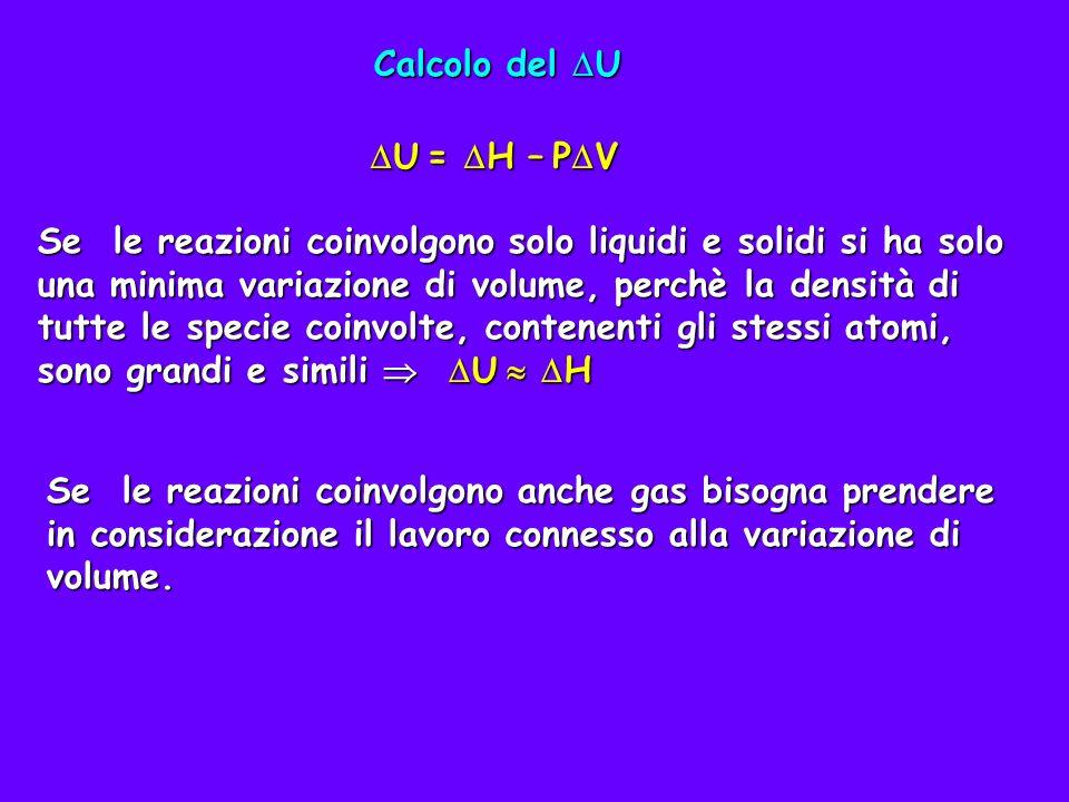 Calcolo del U U = H – PV.
