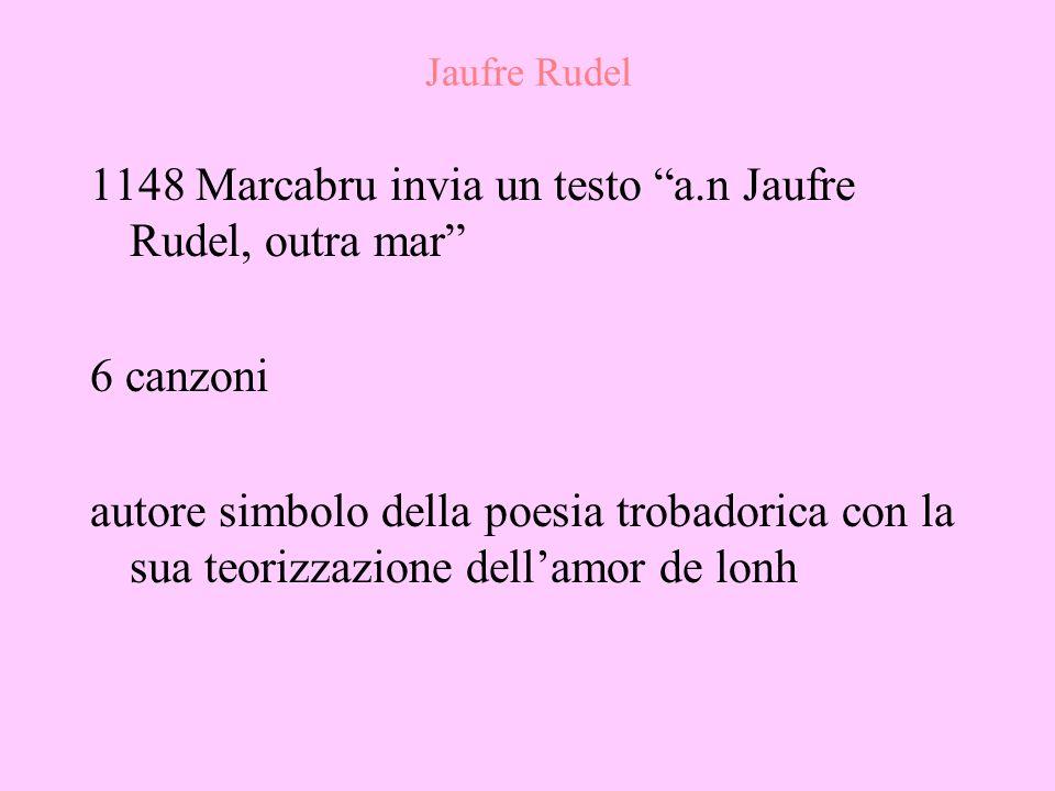 1148 Marcabru invia un testo a.n Jaufre Rudel, outra mar