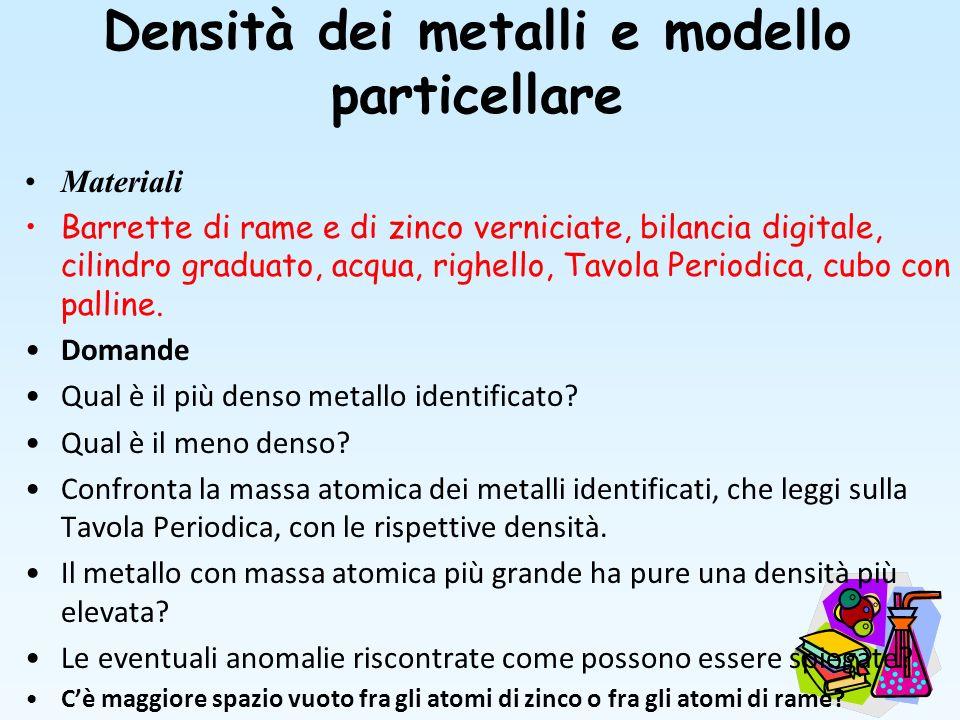 Densità dei metalli e modello particellare