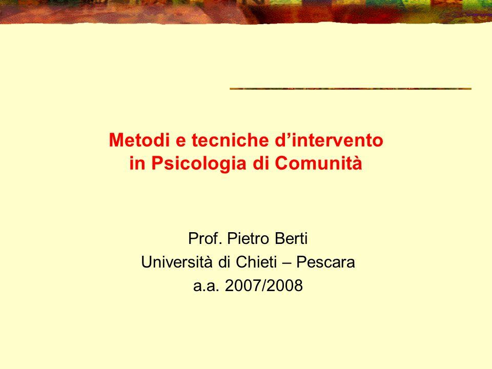 Metodi e tecniche d'intervento in Psicologia di Comunità