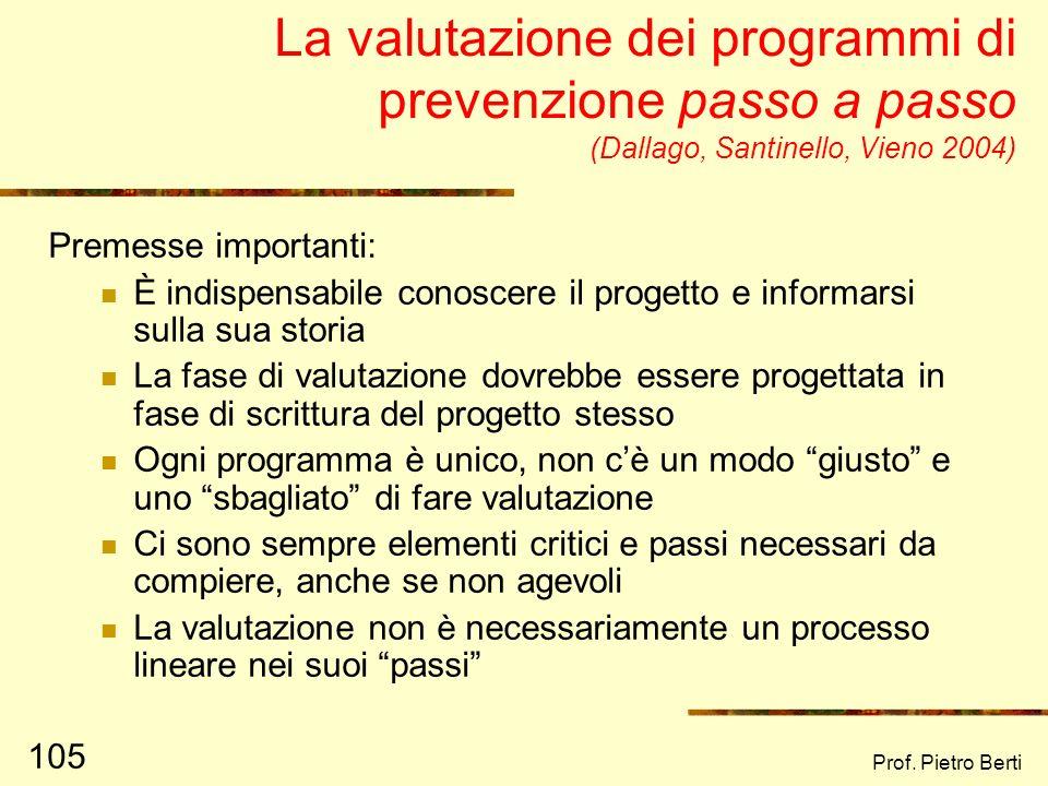 La valutazione dei programmi di prevenzione passo a passo (Dallago, Santinello, Vieno 2004)