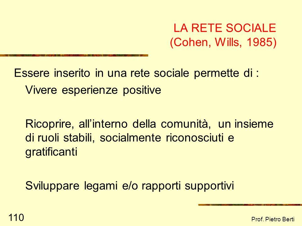 LA RETE SOCIALE (Cohen, Wills, 1985)