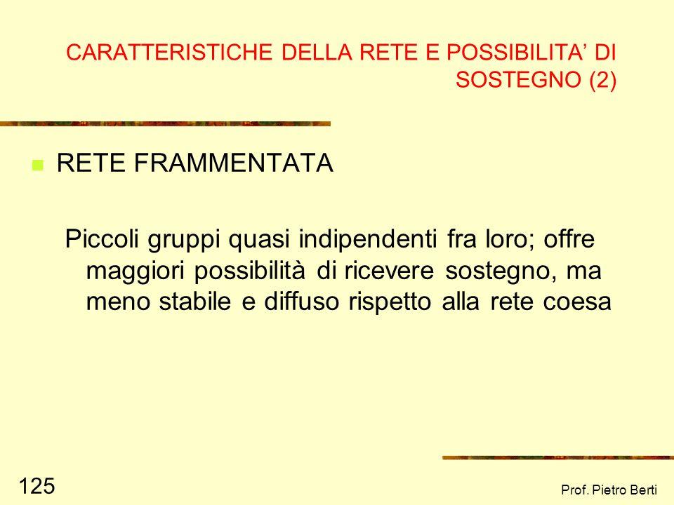 CARATTERISTICHE DELLA RETE E POSSIBILITA' DI SOSTEGNO (2)