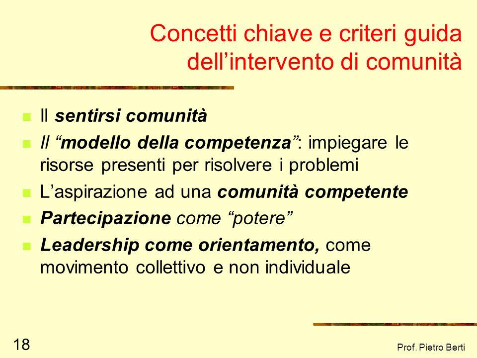 Concetti chiave e criteri guida dell'intervento di comunità