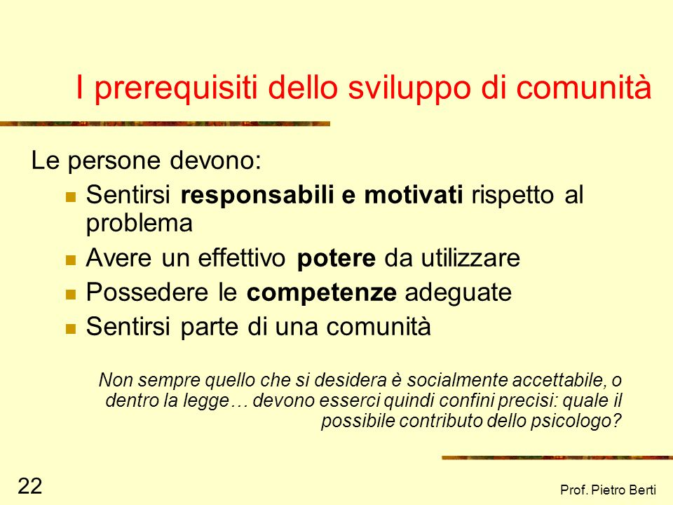 I prerequisiti dello sviluppo di comunità