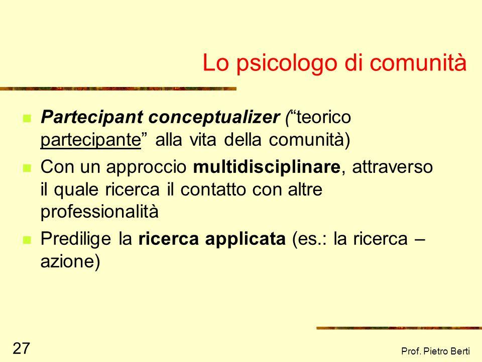 Lo psicologo di comunità