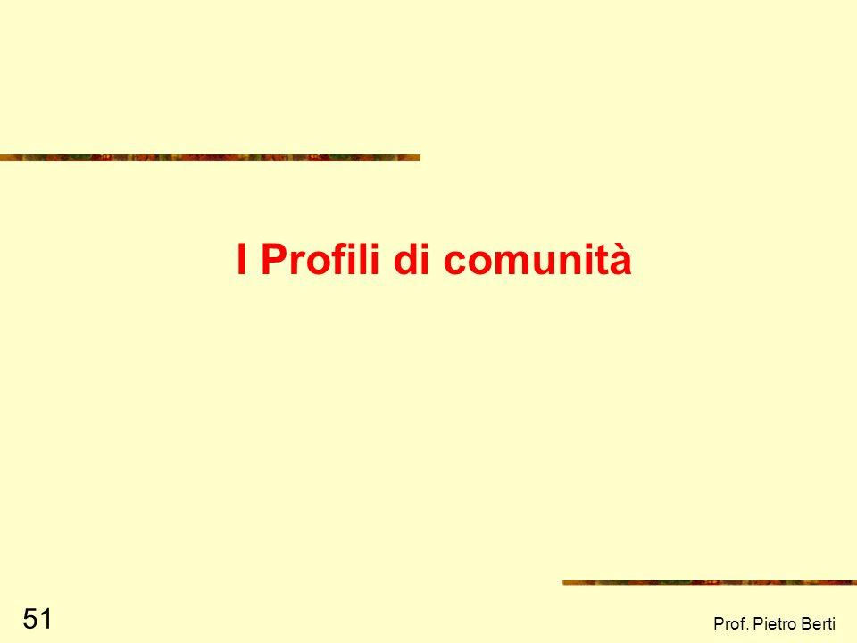 I Profili di comunità Prof. Pietro Berti