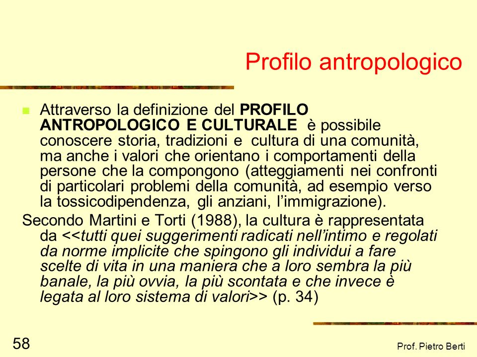 Profilo antropologico