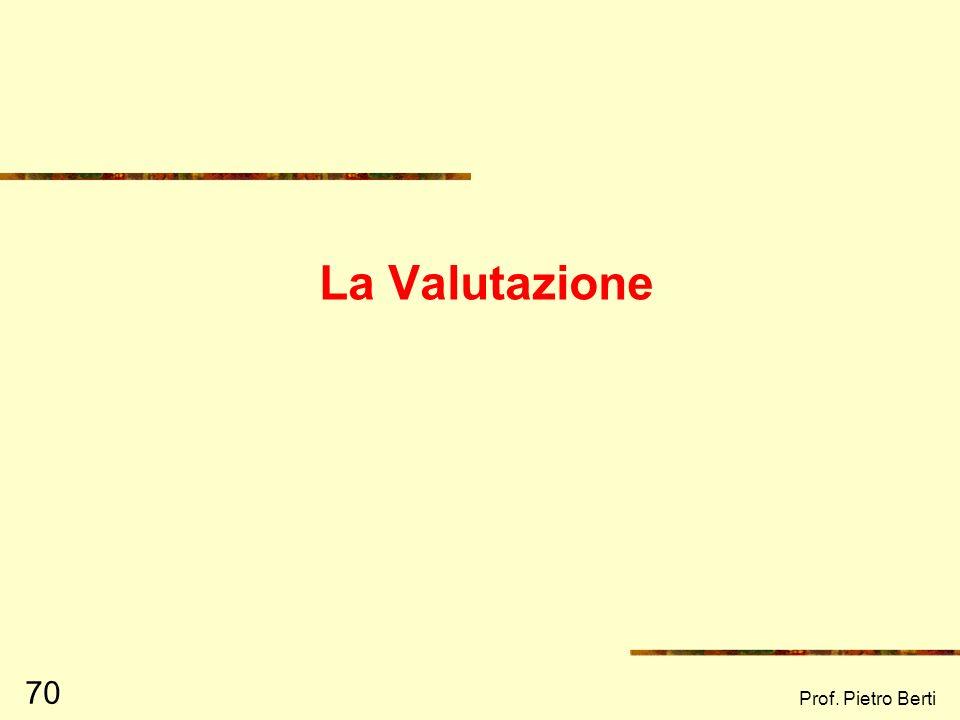 La Valutazione Prof. Pietro Berti