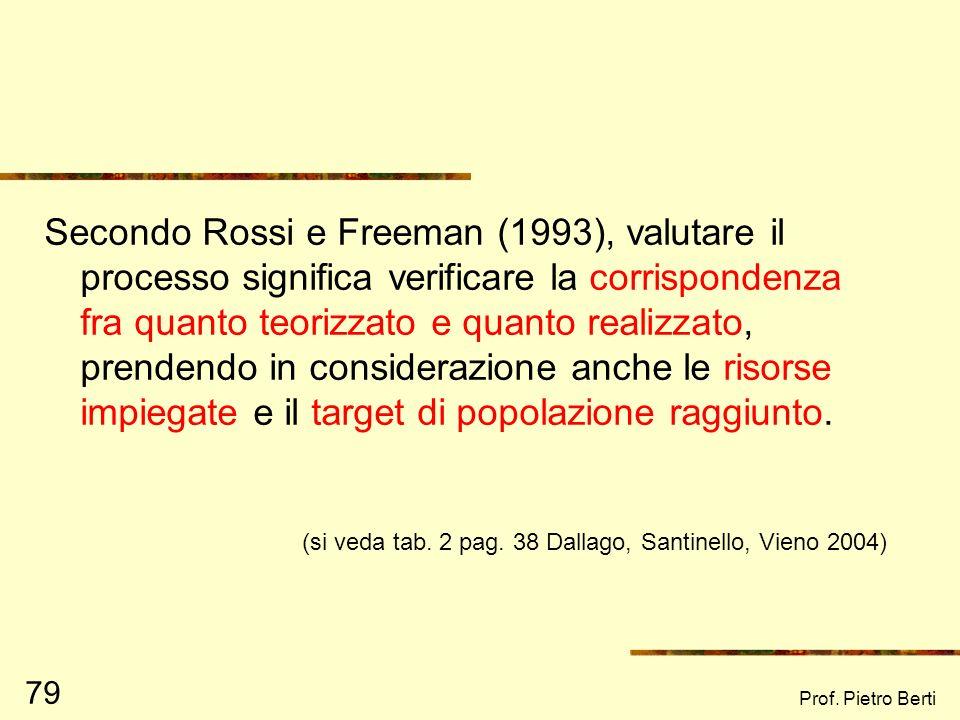 Secondo Rossi e Freeman (1993), valutare il processo significa verificare la corrispondenza fra quanto teorizzato e quanto realizzato, prendendo in considerazione anche le risorse impiegate e il target di popolazione raggiunto.