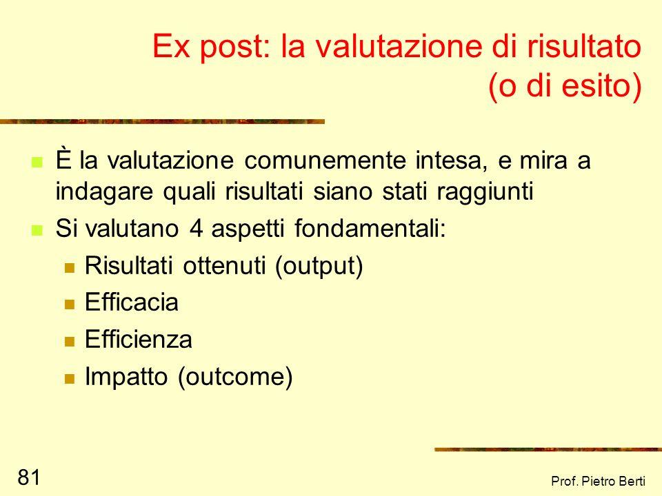 Ex post: la valutazione di risultato (o di esito)