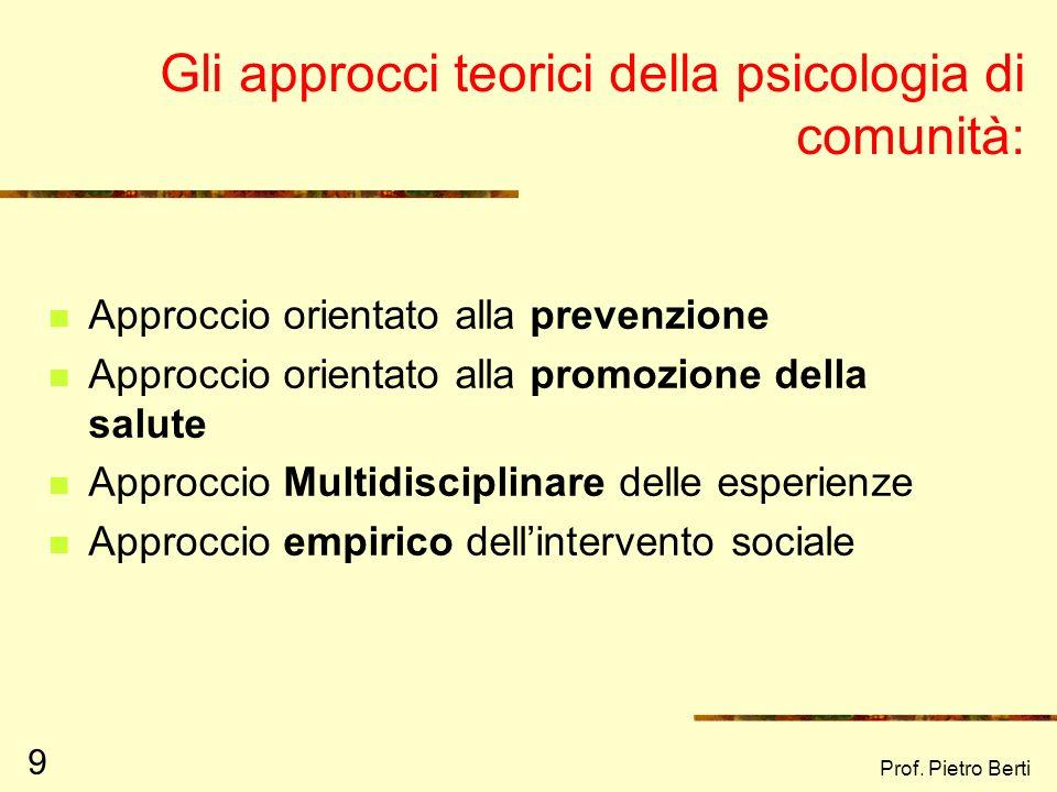 Gli approcci teorici della psicologia di comunità: