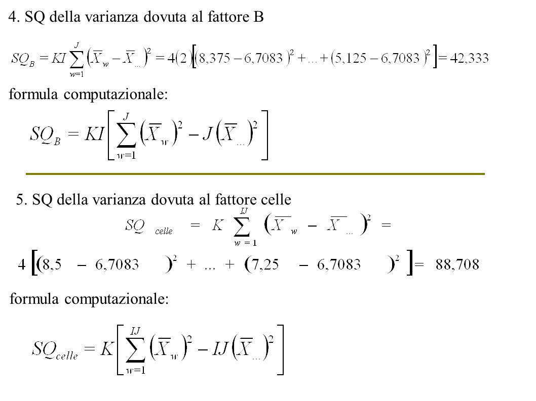 4. SQ della varianza dovuta al fattore B