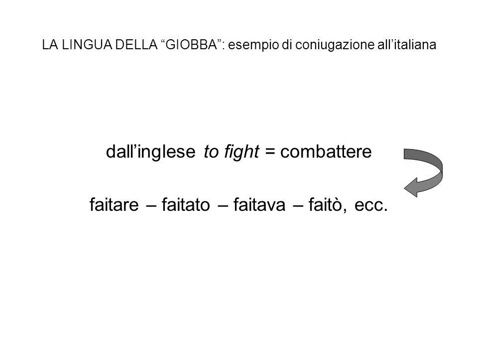 LA LINGUA DELLA GIOBBA : esempio di coniugazione all'italiana