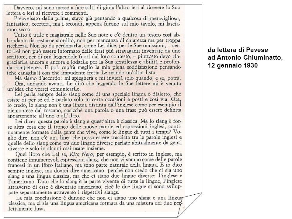 da lettera di Pavese ad Antonio Chiuminatto, 12 gennaio 1930
