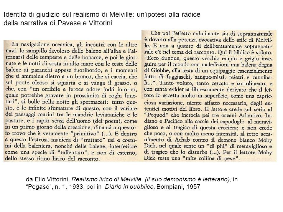 Identità di giudizio sul realismo di Melville: un'ipotesi alla radice