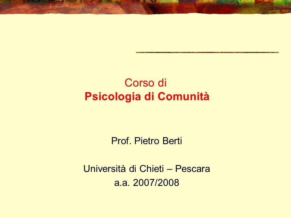 Corso di Psicologia di Comunità