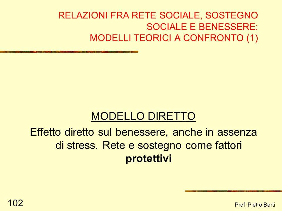 RELAZIONI FRA RETE SOCIALE, SOSTEGNO SOCIALE E BENESSERE: MODELLI TEORICI A CONFRONTO (1)