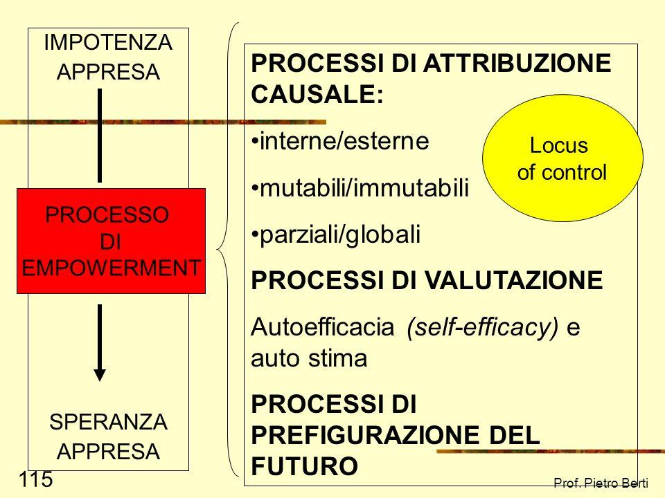 PROCESSI DI ATTRIBUZIONE CAUSALE: interne/esterne mutabili/immutabili