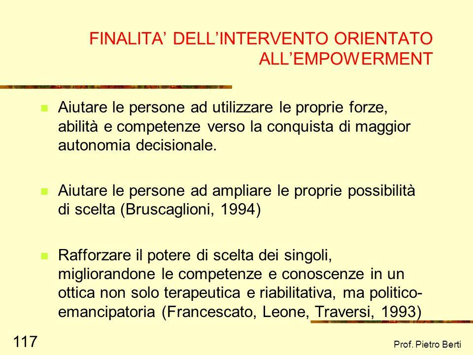 FINALITA' DELL'INTERVENTO ORIENTATO ALL'EMPOWERMENT