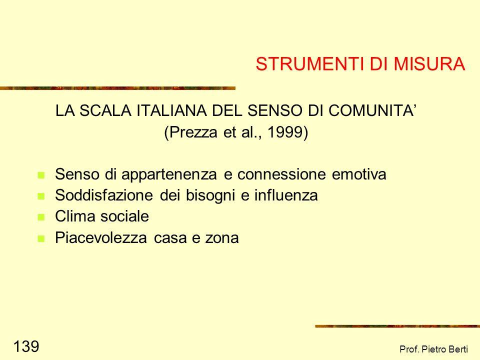 LA SCALA ITALIANA DEL SENSO DI COMUNITA'