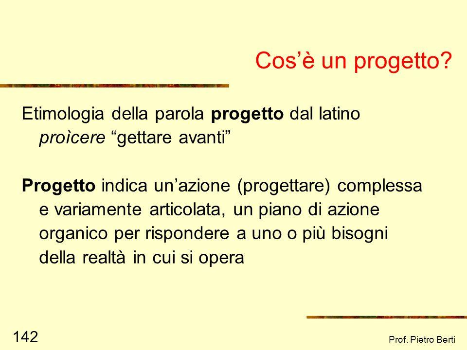 Cos'è un progetto Etimologia della parola progetto dal latino proìcere gettare avanti